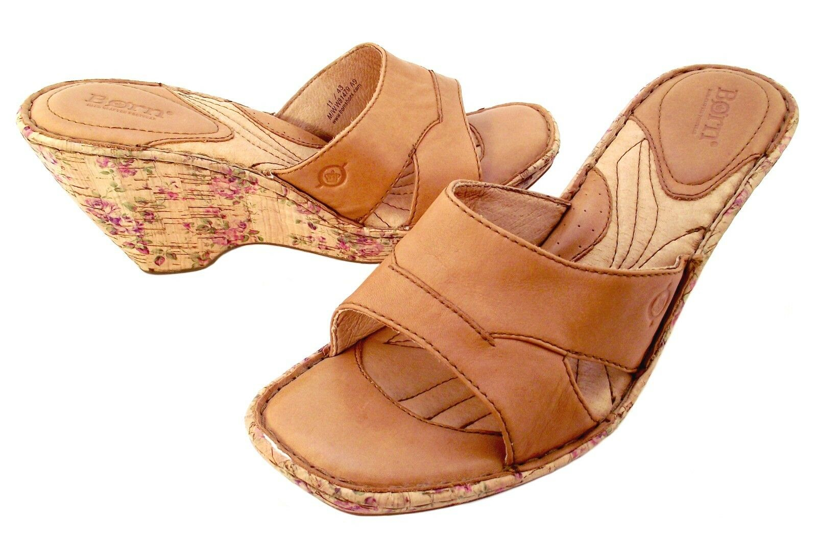 NWOB  BORN Saria Camel Tan Leather Wedge Slide-Floral Cork Wrapped Heel-Sz 11