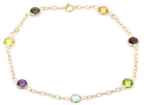 14k Yellow Gold Anklet Bracelet With Blue Topaz And Amethyst Gemstones 11 Inches Jewelry & Watches