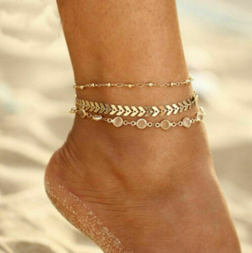 Gold Silver Ankle Bracelet Women Anklet Adjustable Chain Foot Beach Jewelry JT