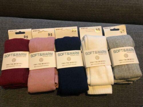 Filles Coton Riche école collants hiver chaud épais 2-3 ans Lot de 2 paires couleurs 5