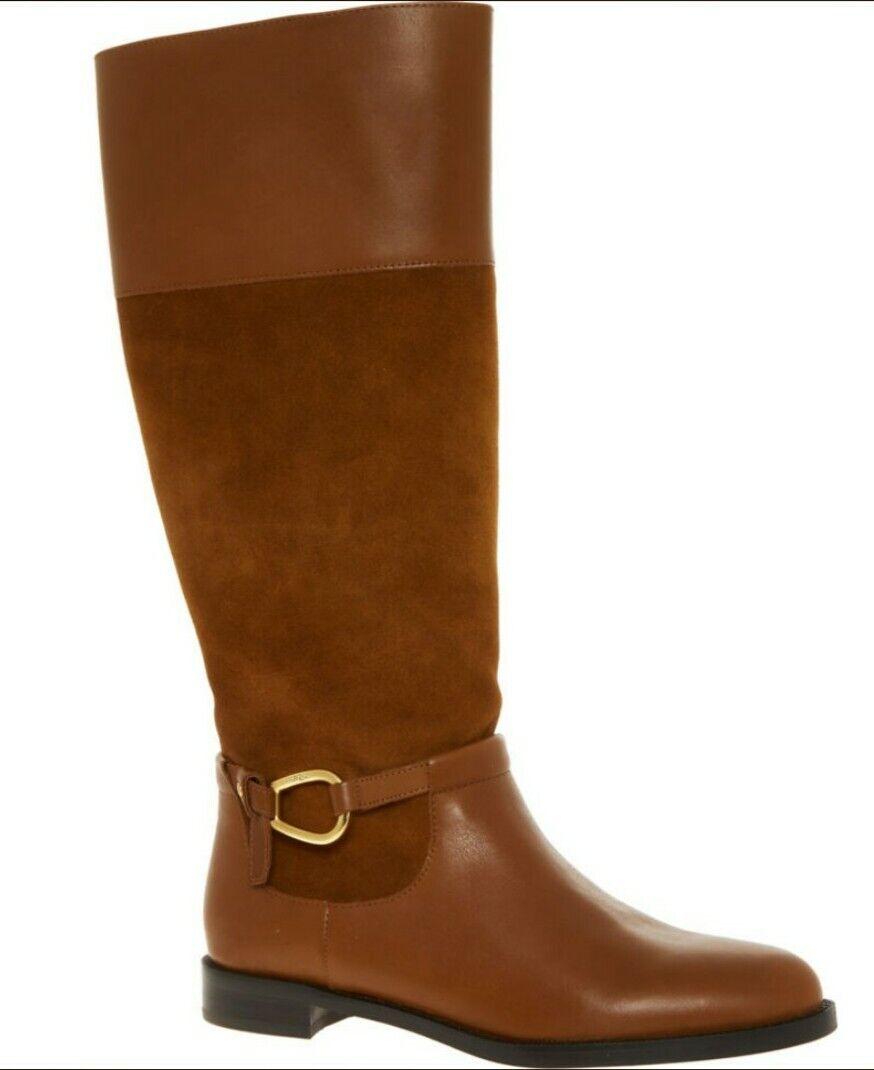 190 Lauren Ralph Lauren en daim marron & Cuir Équitation Bottes UK 3/Eu 36 Neuf