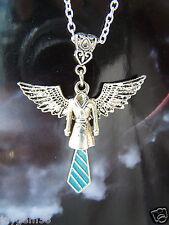 SUPERNATURAL THEMED ANGEL CASTIEL WING NECKLACE BLUE TIE