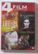 New! 4 Film DVD Set: Black Swan - Descendants - Crazy Heart - Life of Pi Portman