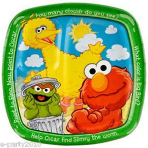 SESAME STREET Sunny Days LARGE POCKET PLATES (8) ~ 1st Birthday Party Supplies