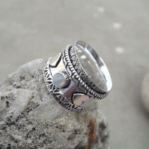 Rainbow-Moonstone-925-Sterling-Silver-Meditation-Statement-Ring-Spinner-Ring-sd8