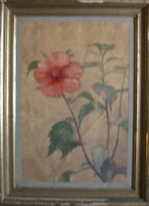:: Watercolour ° Hibiscus Still Life Flower Red Pink ° Botany Impressionism Antique