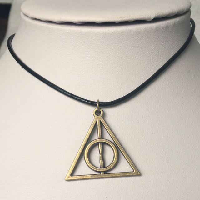 Harry Potter The Deathly Hallows copper Pendant Necklace Genuine Leather gift