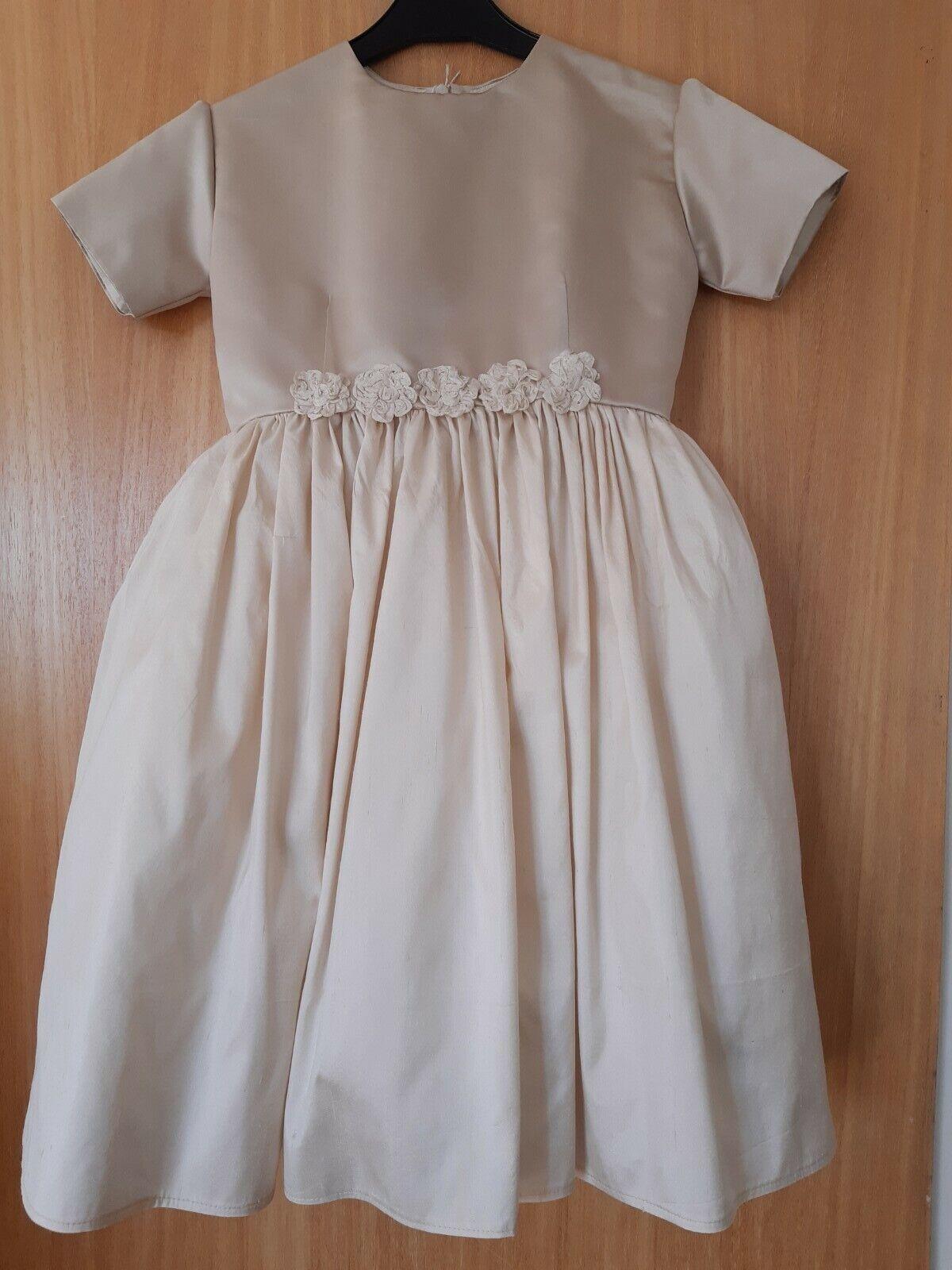 bridesmaid/flower girl dress (light coffee) SILK bodice/ raw silk skirt AGE 10