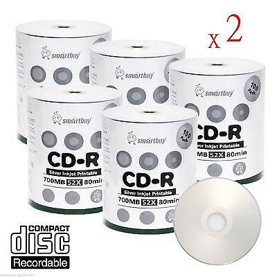 1000 Pcs Smartbuy Grade A+ CD-R 52X 700MB Silver Inkjet Hub Printable Blank Disc