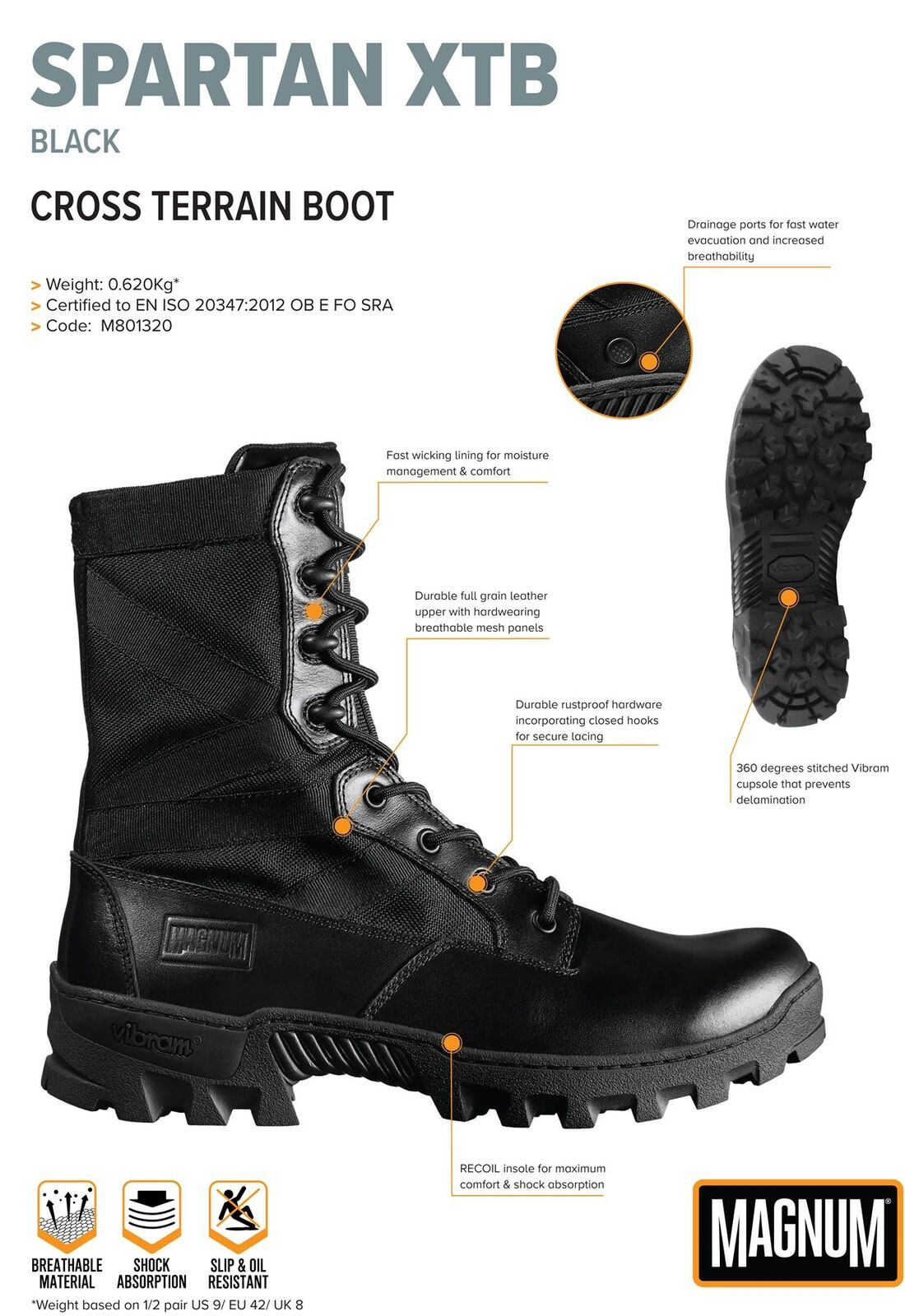 Magnum Spartan XTV Vibram Black Leather Lace Mens Patrol Boots Black