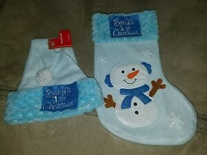 Baby Boy Blue Christmas Hat & Stocking Set, Baby's 1st Christmas, Felt, Snowman