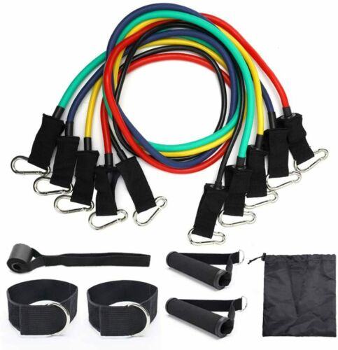 11 Piece Resistance Bands Workout Exercise Yoga Crossfit Fitness Tubes UK