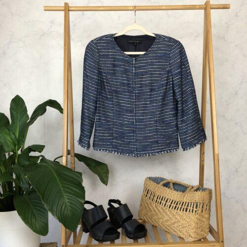 Lafayette 148 Size 6 Blue Tweed Fringe Boxy Zip Bl