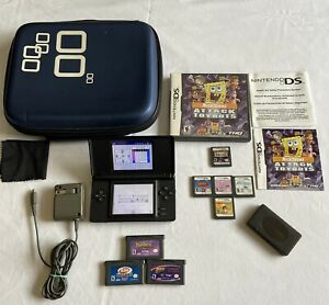 Nintendo-DS-Lite-Cobalt-Blue-Bundle-w-5-Ds-amp-3-GBA-Games-Charger-Carry-Case