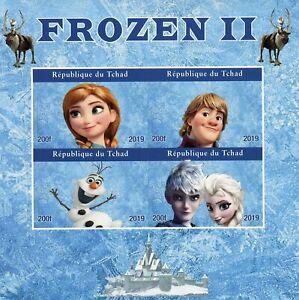 Chad-Disney-Sellos-2019-estampillada-sin-montar-o-nunca-montada-Frozen-Elsa-Olaf-Dibujos-animados