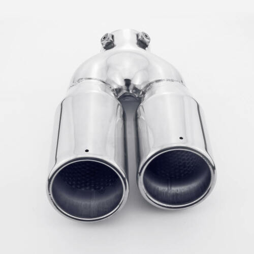 Dual Slant Staggered 3 inch Out Exhaust Tip Bolt On 2-1//4 Inlet Resonated Round