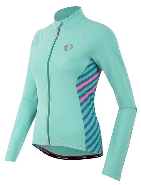Pearl Izumi Women's Select Pursuit Thermal Bike Jersey Aqua Mint Stripe Small