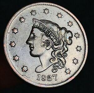 1837 Large Cent Coronet Head 1C Reverse Die Crack Choice US Copper Coin CC6833