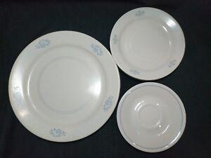 Image is loading Corelle-Sandstone-Light-Blue-Flowers-White-Lines-12- & Corelle Sandstone Light Blue Flowers White Lines 12 Plates; Dinner ...