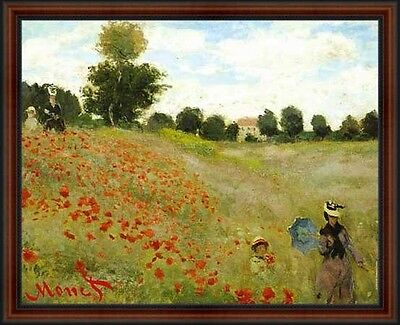 The Poppy Field near Argenteuil, 1873 by Claude Monet. Framed Art Print Poster
