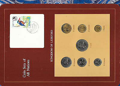Africa Coin Sets Of All Nations Lesotho W/card All 1979 But 50 Lisente 1983