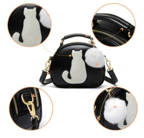 Faux Sac Leather Luna Cat Sailor Bag Crossbody Moon Fur Nuovo Handbag qzIRW