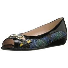 AMALFI by RANGONI $269 IBBIE Black Snake Print LEATHER Loafers SLIP ON SHOE 7 M