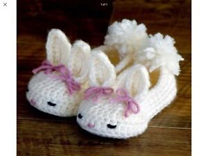 Details about Crochet Baby Booties Baby Shoes Bunny Easter Cream Size M (3 6 months)
