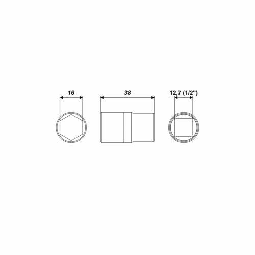 Tête Hexagonale Clés à Douille t16 Accueil 1//2 pouce écrou 10 mm6
