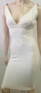 HERVE-LEGER-White-V-Neckline-Sleeveless-Open-Back-Bandage-Bodycon-Mini-Dress-M