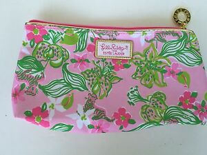 Lily-Pulitzer-For-Estee-Lauder-Small-Pink-Makeup-Cosmetic-Bag-For-Travel