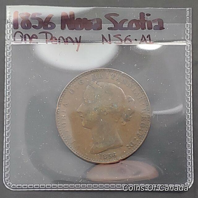 1856 Nova Scotia One Penny Token - NS-6A1 - Queen Victoria LCW - #coinsofcanada