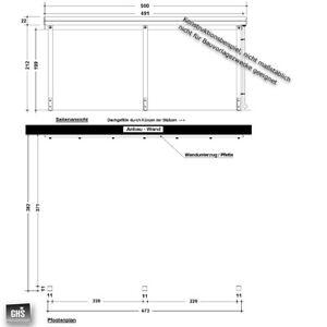 Anbau-Carport 4x5 m, Holz-Bausatz 11/11 cm Stützen