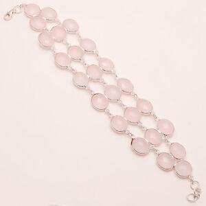 Russian-Rose-Quartz-Gemstone-925-Sterling-Silver-Bezel-Bracelet-Fine-Jewelry-New