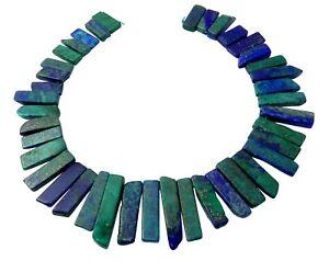 Lapislazuli-blau-gruene-Scheiben-Nuggets-Perlen-Strang-fuer-Kette