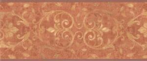 Wallpaper-Border-Tuscan-Rust-Orange-and-Gold-Leaf-Scroll