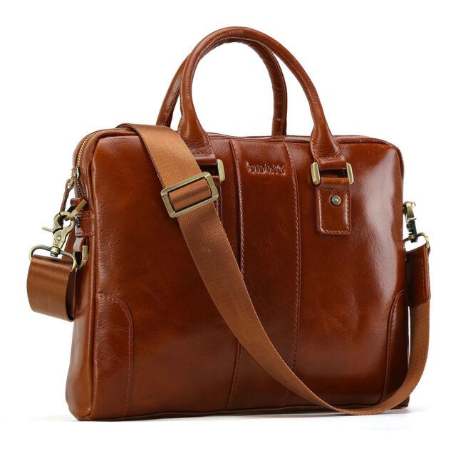 Sling Shoulder messenger bag Cowhide Leather Men Briefcase 14 inch laptop case