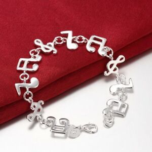 18K-White-Gold-Plated-Musical-Note-Charm-Bracelet-FAST-FREE-SHIPPING