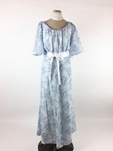 Vintage 1970s Blue Floral Dress Maxi Hostess Gown