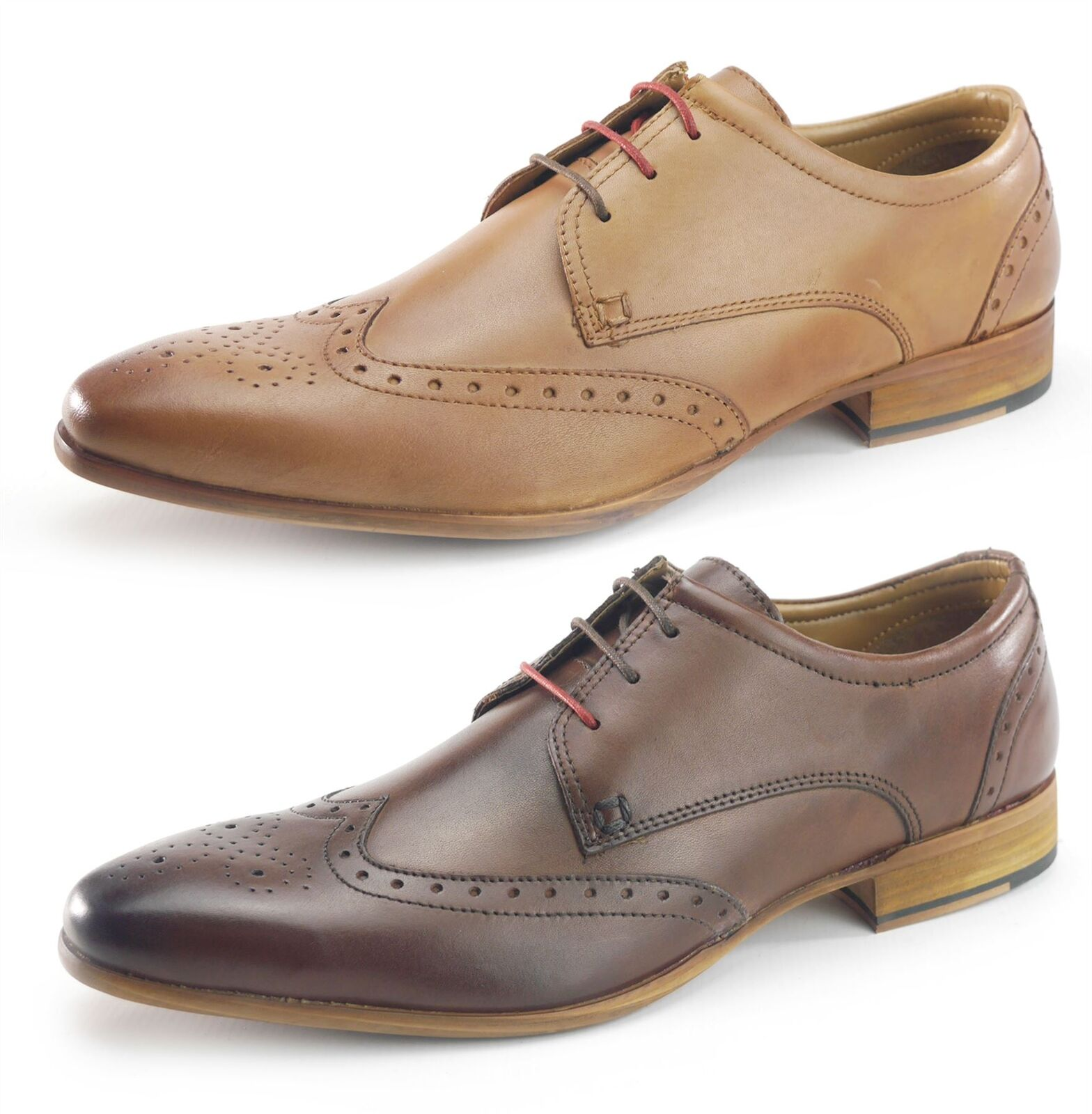 Frank James Leather Brogue 3 3 3 Eye Lace Up Mens schuhe Tan or braun d22a09
