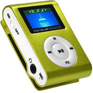 Mini-Reproductor-MP3-Clip-LCD-VERDE-Aluminio-RADIO-FM-hasta-8GB-MIcroSD-a420