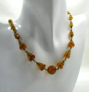 Beautiful-Deco-Style-Amber-Coloured-Crystal-Bead-And-French-Wire-Necklace