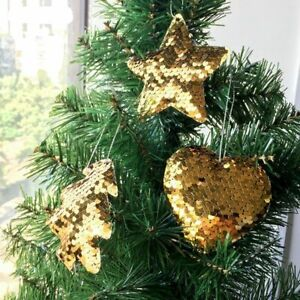 3pcs Gold Sparkly Christmas Tree Shape Gift Tag Ornament Glitter Acrylic Hanging Decoration