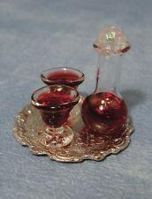 SCALA 1:12th Vino Decanter & Occhiali su vassoio, doll house miniature