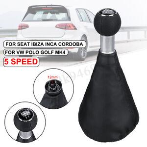 Black-5-Speed-Manual-Gear-Shift-Knob-Boot-Gaiter-For-VW-Polo-Golf-MK4-Seat