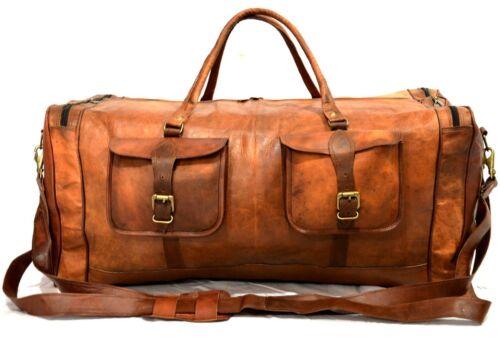 """Vintage Leather Duffle Weekend Sport Bag in Canvas Shoulder Hand bag 28/"""""""