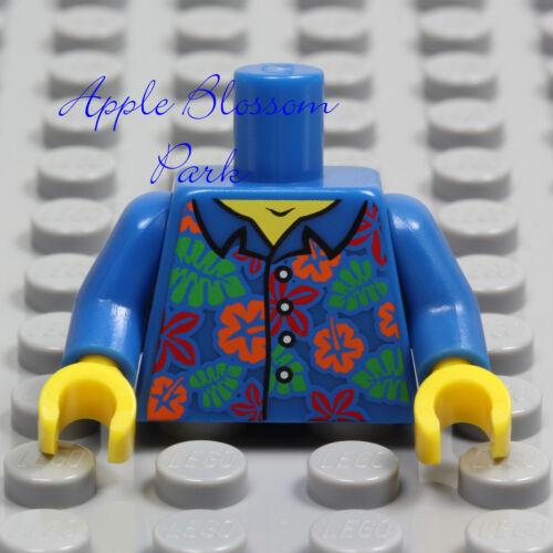 NEW Lego Minifig BLUE SHIRT TORSO Boy Girl Hawaiian Flower Button Top Upper