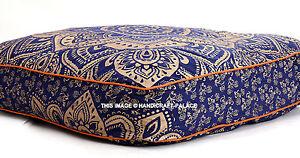 Indien Carré Ombre Mandala Imprimé Ottomane Oreiller Pouf Coussin de Sol Animaux