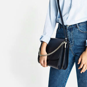 299f8768d5562 ZARA NAVY BLUE LEATHER CROSSBODY BAG WITH CHAIN FW16 NEW WITH TAGS ...