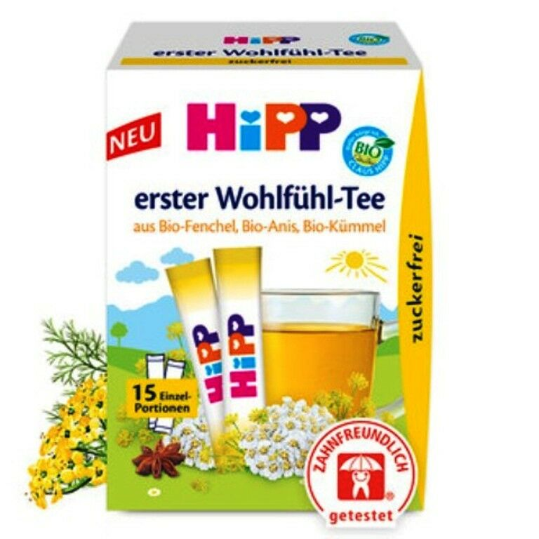 HiPP Baby Wellness Tea Organic, Fennel Anise & Caraway, soothes colic SUGAR FREE
